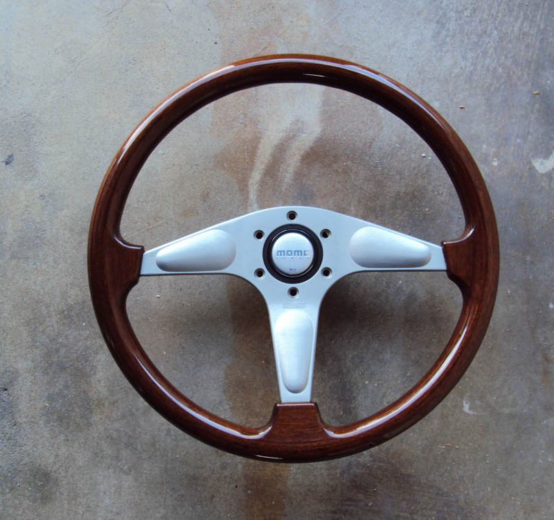MOMO Teardrop Gun Metal Wood Grain Steering Wheel 365mm 01