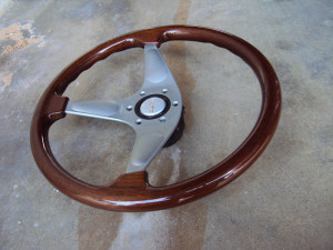 MOMO Teardrop Gun Metal Wood Grain Steering Wheel 365mm