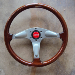 MOMO Gun Metal Teardrop Wood Grain Steering Wheel