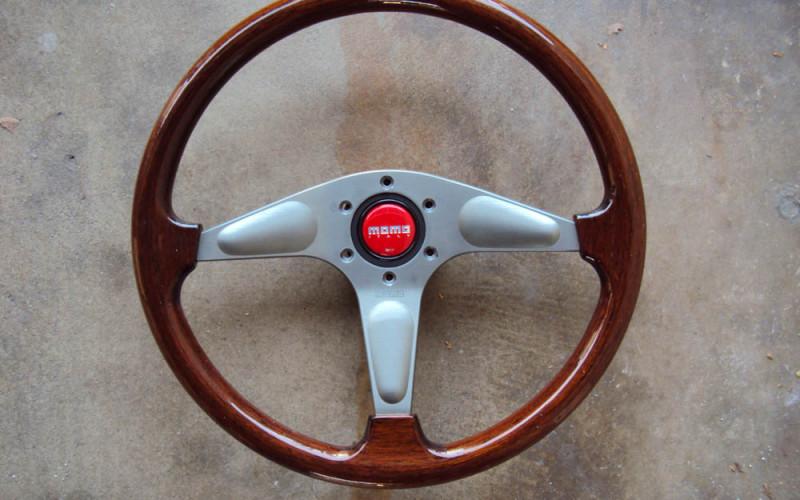 MOMO Gun Metal Teardrop Wood Grain Steering Wheel