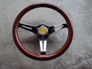 HKB TOM'S Woodgrain Chrome Steering Wheel 350mm