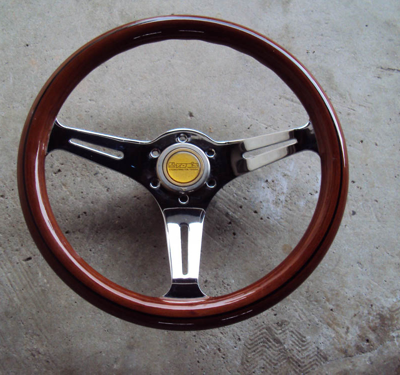 HKB TOM'S Woodgrain Chrome Steering Wheel 350mm  01